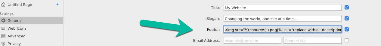 How to add an mage in the site footer? - RapidWeaver